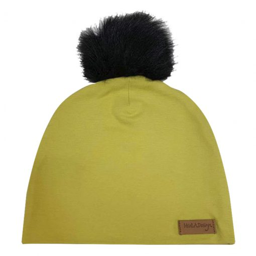 Dirty yellow beanie with a pom pom