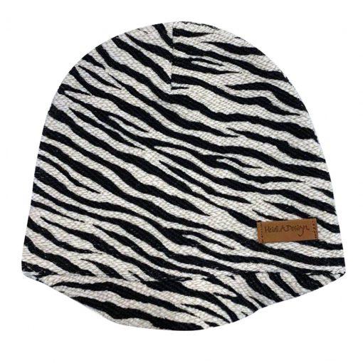 Zebra linen beanie with a lid