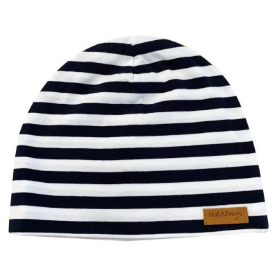 Blue and white striped beanie