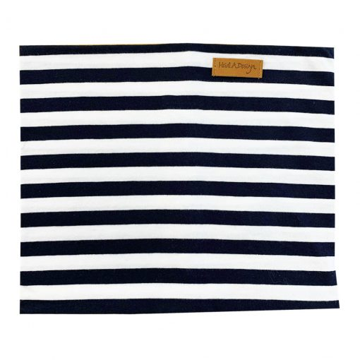 Blue and white striped tube scarf