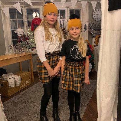 Yellow gray tartan skirt