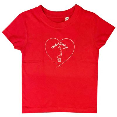 Red t-shirt with heart logo