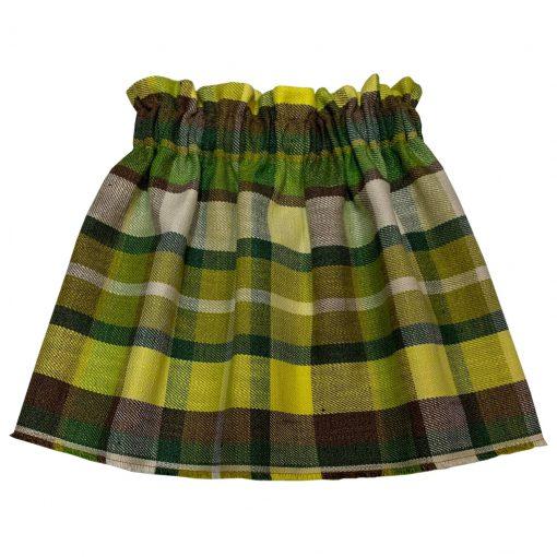 Yellow green tartan skirt