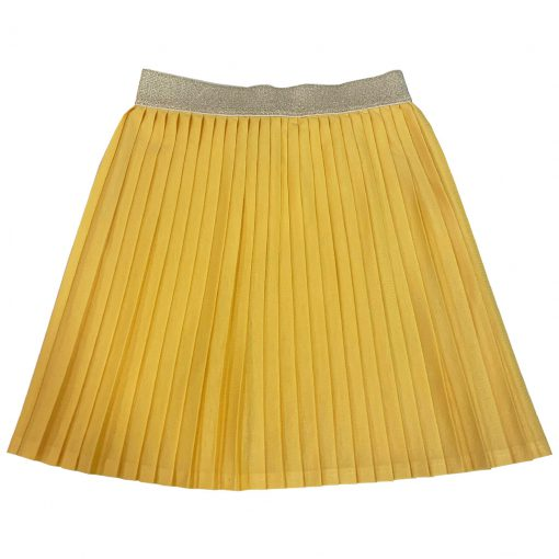 yellow pleated skirt, golden belt