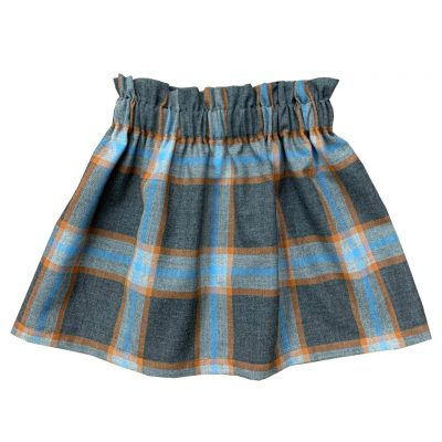 Gray blue toned tartan skirt, girls