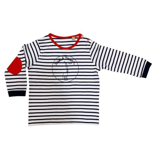 White and blue striped long sleeved with red elbows