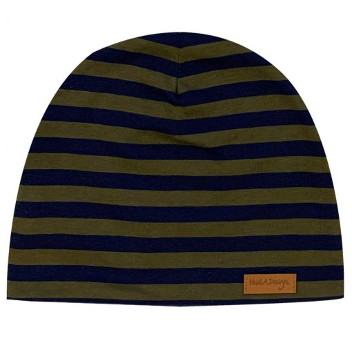 Army green and blue striped beanie