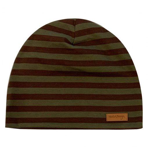 Army green:brown striped beanie