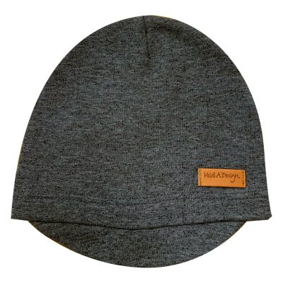 Dark gray beanie with a lid