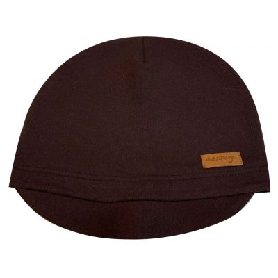 Dark brown beanie with a lid