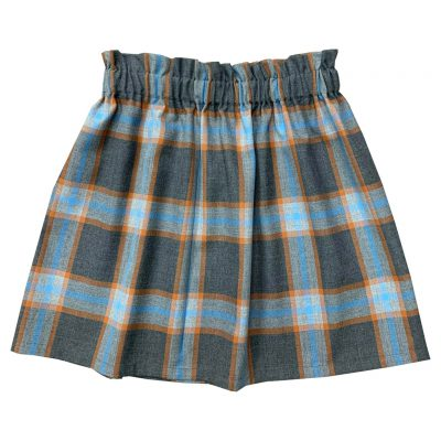Gray blue toned tartan skirt woman