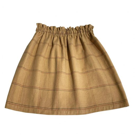 Light brown check fabric shirt for women