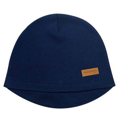 Beanie with a lid, dark blue, thicker