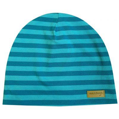 Turquoise stripy beanie