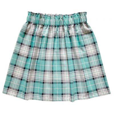 Mint green tartan skirt women